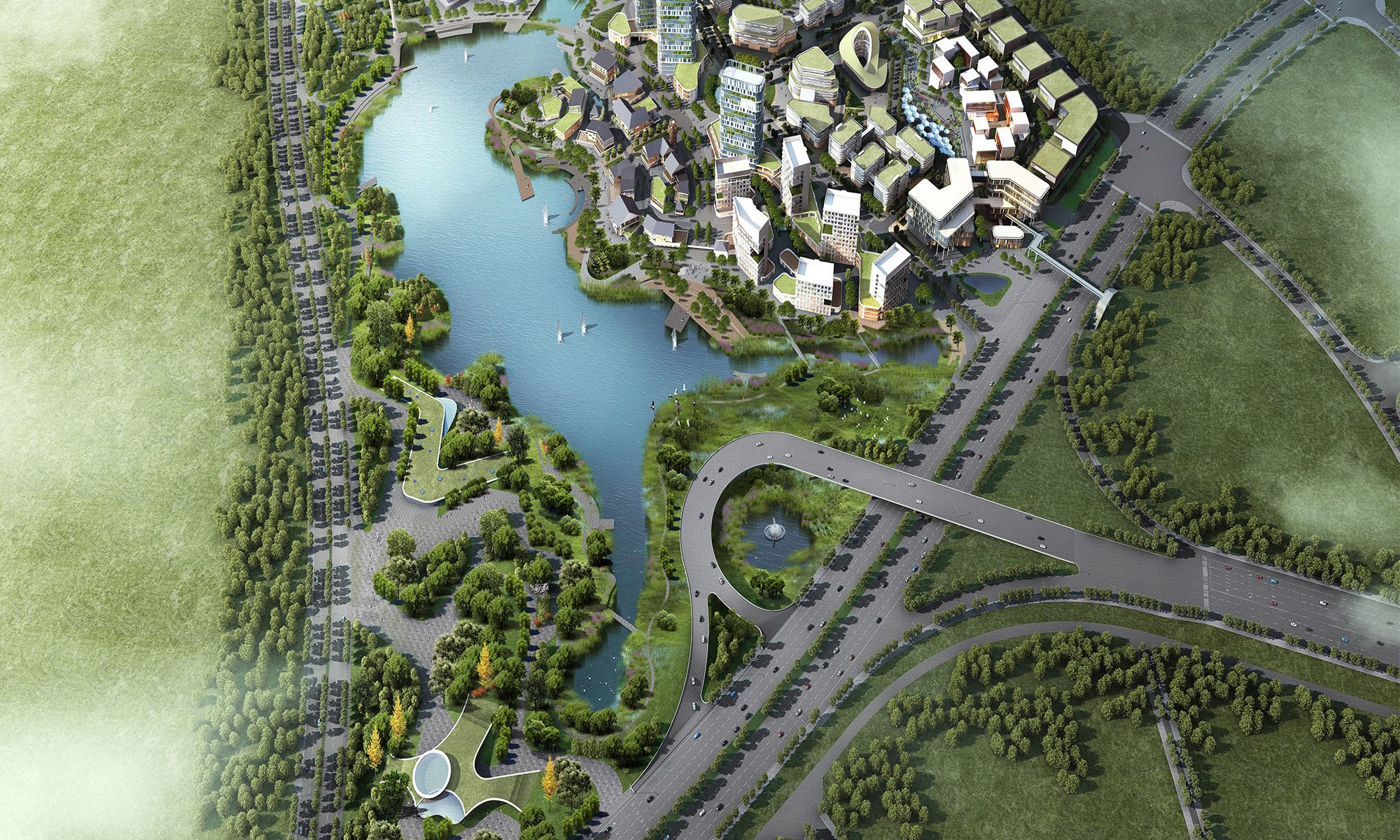 3D render of a large development